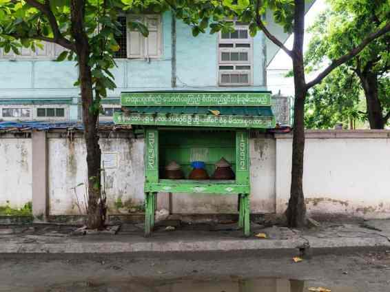 Free public water outside Atumashi Kyaung, Mandalay, Myanmar (2017-09)