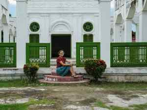 Carola tripod-selfie at Mandalay Royal Palace, Myanmar (2017-09)