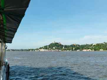 Passing Sagaing on the Irrawaddy River Cruise Mandalay to Bagan, Myanmar (2017-09)