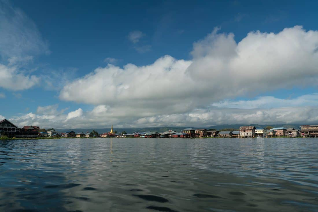 Inle Lake boat tour: Approaching a floating village, Myanmar (2017-10)