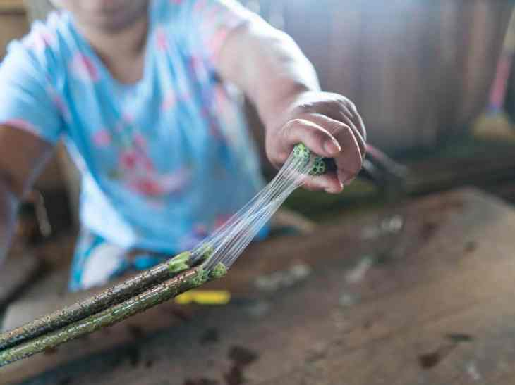 Inle Lake boat tour: Making lotus thread, Myanmar (2017-10)