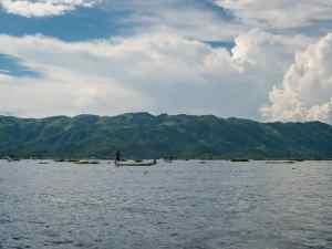 Inle Lake boat tour: Fishermen in the distance, Myanmar (2017-10)