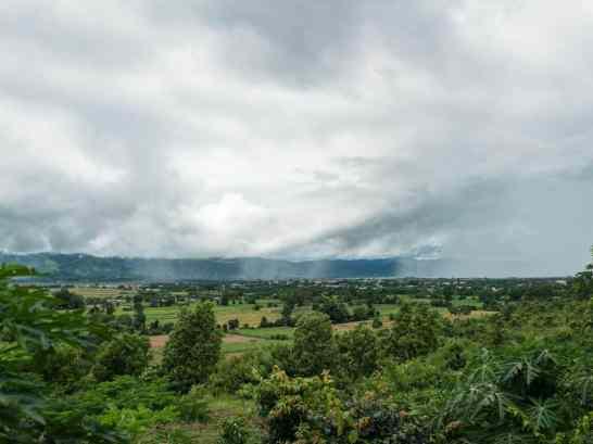 Inle Lake bike tour: View with rain from Red Mountain Vineyard, Myanmar (2017-10)