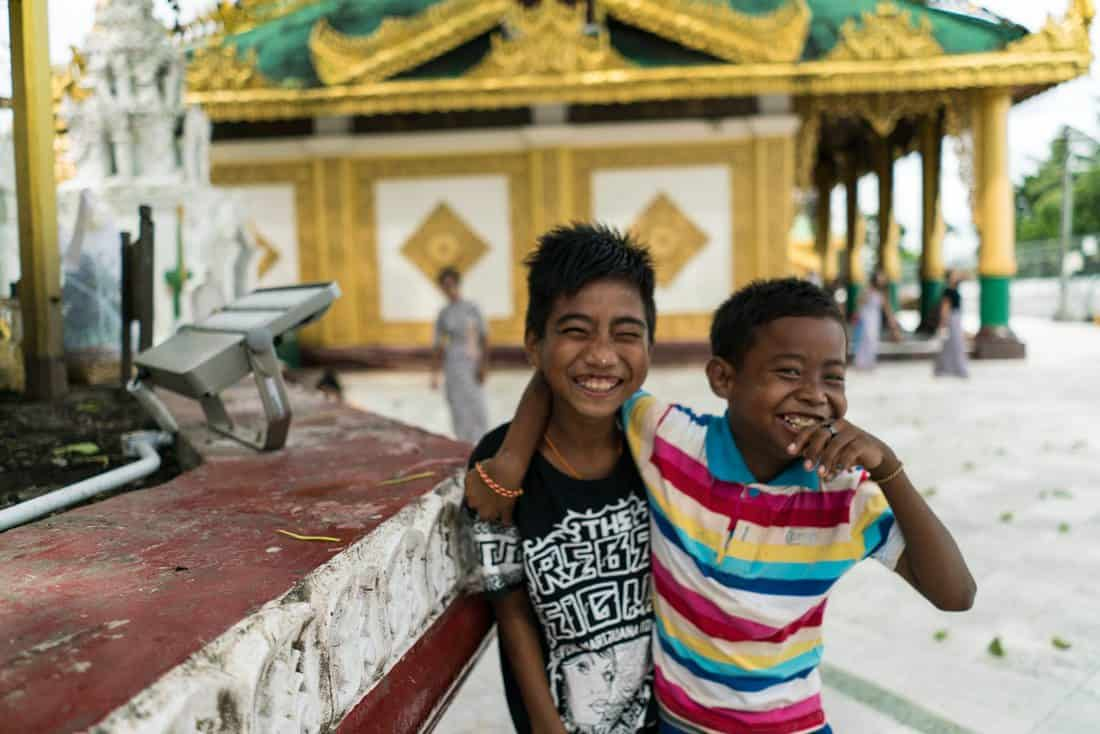 Two boys at Shwedagon Pagoda, Yangon, Myanmar - 20171016-DSC01933