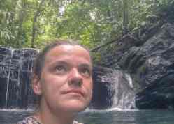 Carola at the waterfall, Ulu Temburong National Park, Brunei