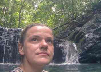 Carola at the waterfall, Ulu Temburong National Park, Brunei