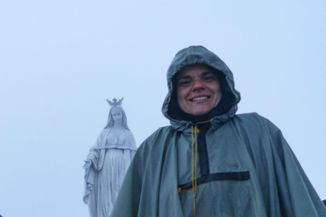 Carola on top of Mt. Ramelau on a very rainy morning, East Timor