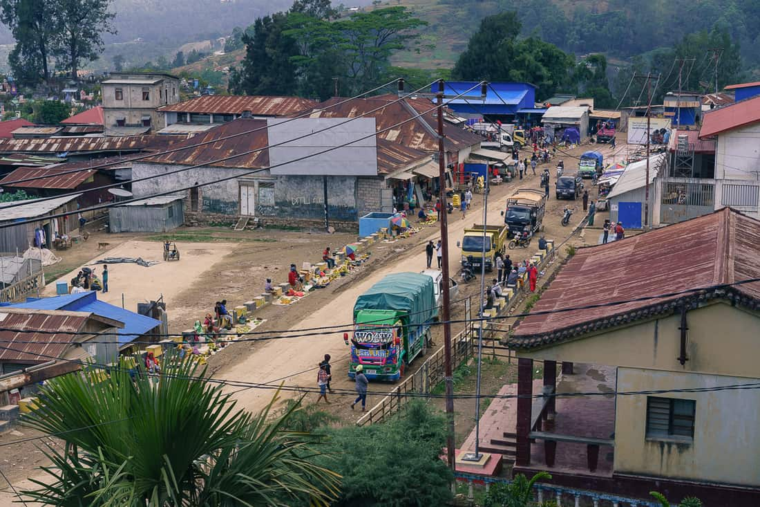 View of Maubisse market from Sara Guesthouse, East Timor