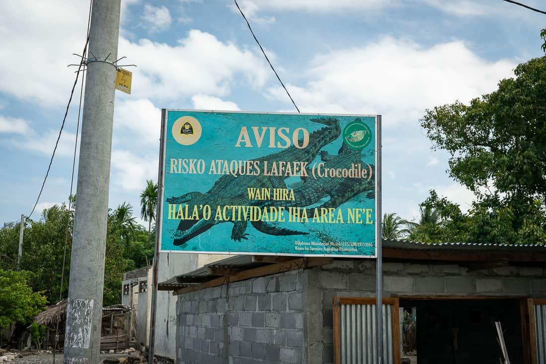Saltwater crocodile warning, Suai Loro, East Timor