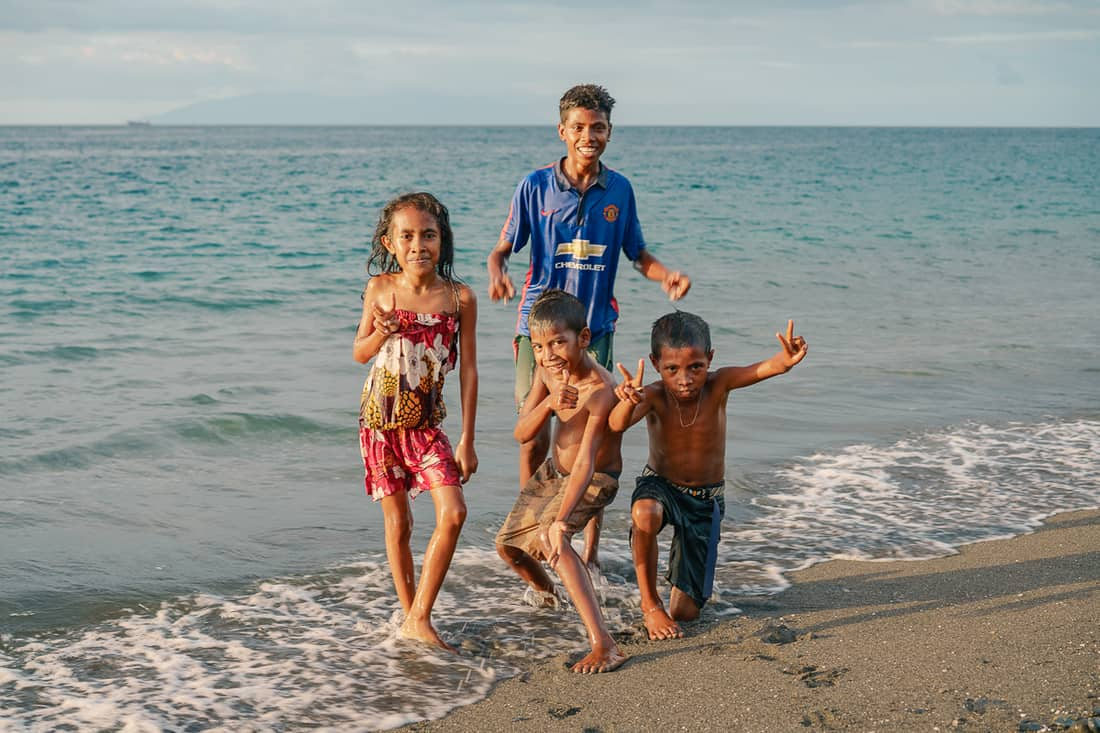 Kids at sunset on Liquica's Lauhata beach, East Timor