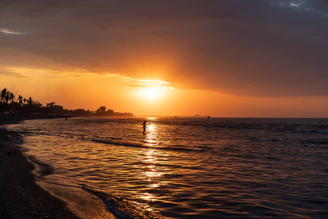 Sunset over Dili beach, East Timor