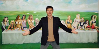 """Wei - """"Who betrayed Me?"""" Behind Wei in this piece is Tiger Woods - his last supper?"""
