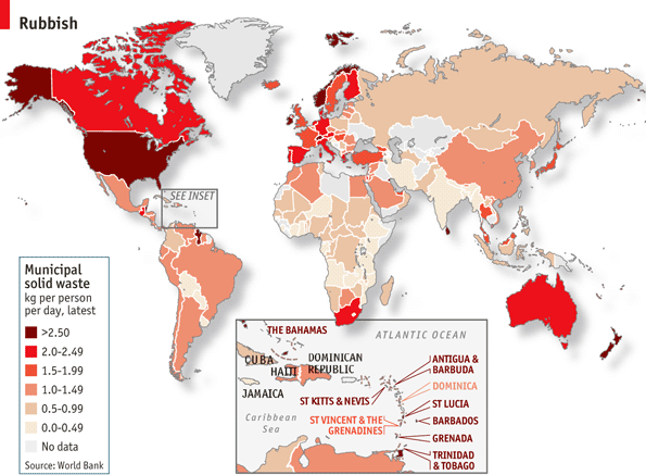 Slash the trash - A Rubbish Map... Find out more here http://www.economist.com/blogs/graphicdetail/2012/06/daily-chart-3