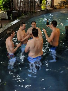 The groomsman hit the pool