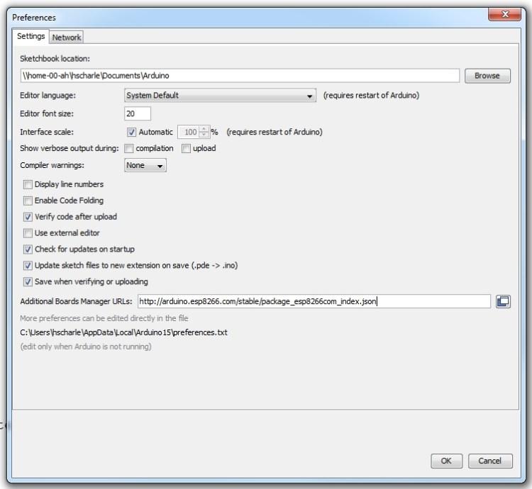 Arduino Preferences for ESP8266 programming