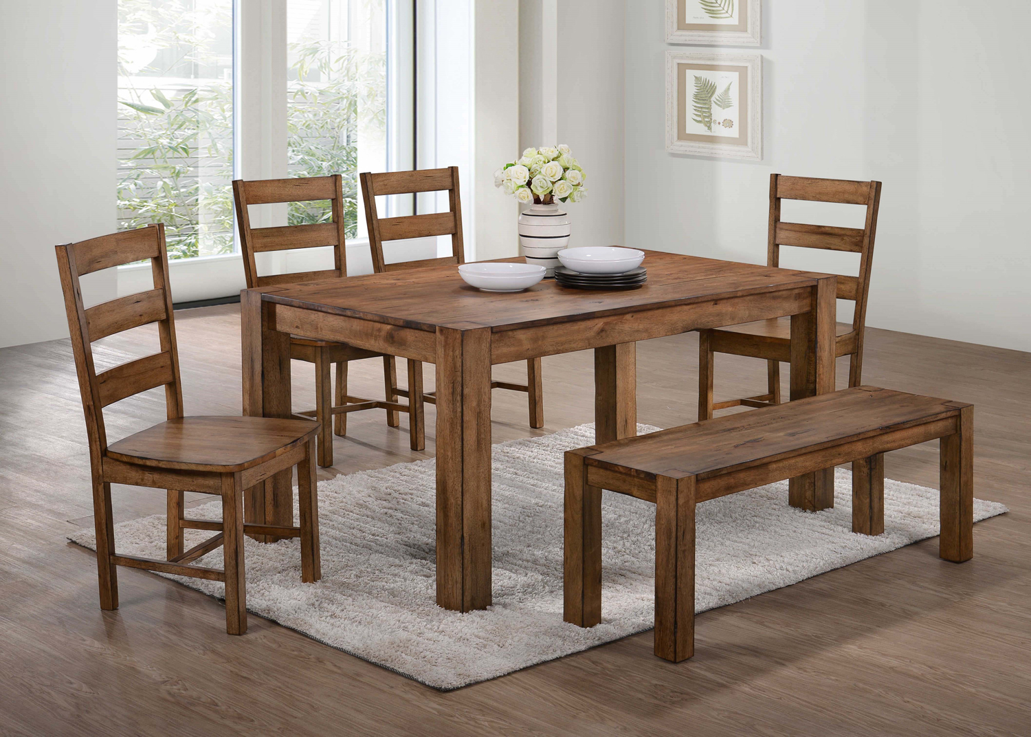 Kitchen Table Bench And 4 Chairs Nothin Fancy Furniture Warehouse