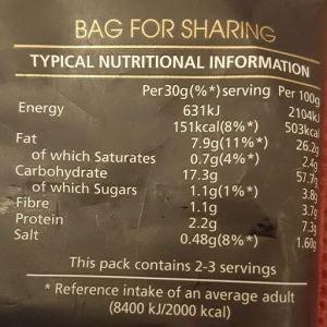 nutritional information for crisps