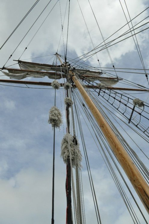 Mast and rigging on our ship