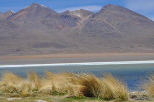 Bolivia Lagoon and Mountains