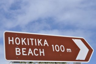 Hokitika beach sign
