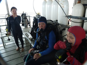 Getting used to the diving gear
