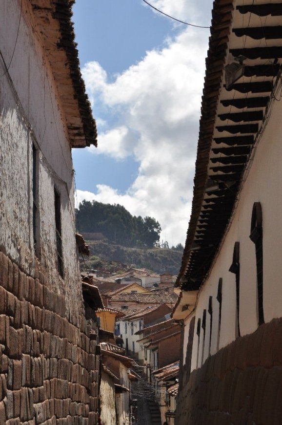 Typical Cusco street; building on the left is build upon an original Inca foundation