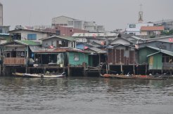 Homes along the river's banks