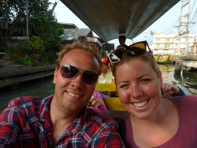 Bill & Eva on a long-tail boat