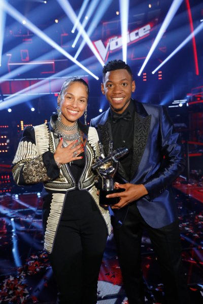 The Voice Champion Chris Blue with coach Alicia Keys