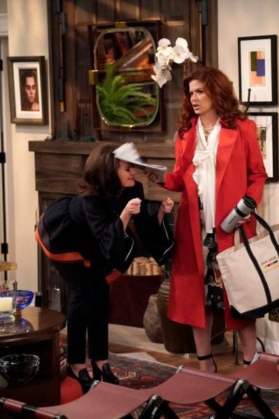"WILL & GRACE -- ""Grandpa Jack"" Episode 105 -- Pictured: (l-r) Debra Messing as Grace Adler, Anthony Ramos as Tony -- (Photo by Chris Haston/NBC)"