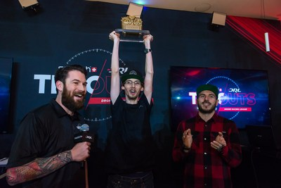 2018 Swatch DRL Tryouts Winner, Robogenesis, celebrates at the Swatch Flagship Store in Times Square. (PRNewsfoto/Drone Racing League)