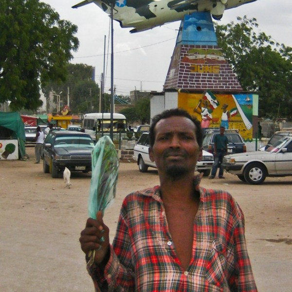 man who asked me to take his picture in front of Hargeisa's airplane Monument Somaliland Independance Day