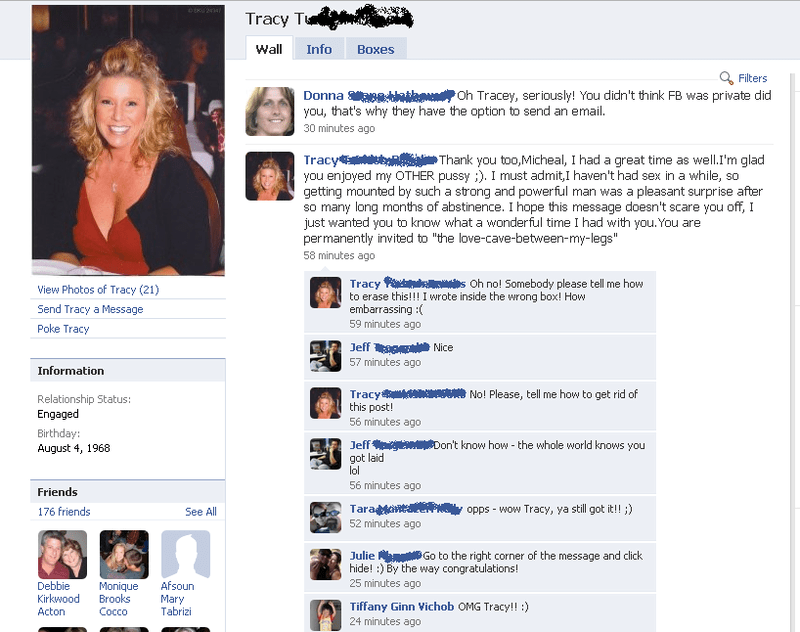 Tracey's Facebook blunder after finally getting laid again.