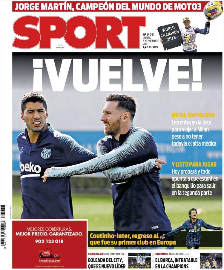 Las Portadas de la Prensa Deportiva del día de hoy #05Nov