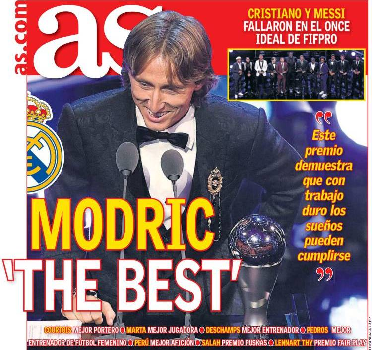 Modric protagonista de las Portadas de la Prensa Deportiva de hoy 25/09/2018