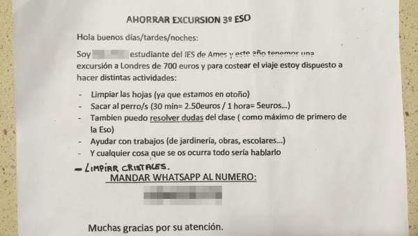 El conmovedor anuncio de un niño de España pidiendo trabajo para pagarse una excursión a Londres