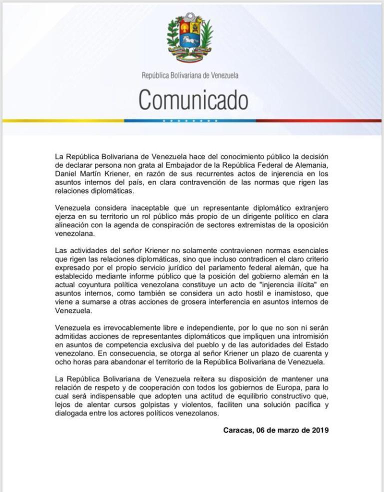 Grupo de Lima repudió expulsión de embajador alemán en Venezuela