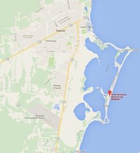Ubicación del hotel Great Parnassus Resort & Spa, de Cancun, en la Zona Hotelera, a la altura de playa Delfines.