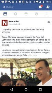 Mensaje contra el empresario Carlos Mimenza patrocinado en Facebook que se publica desde una cuenta falsa que usa el logo de Noticaribe.
