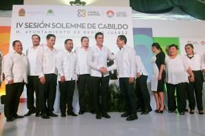 Cancún.- 1er. Informe de gobierno del presidente municipal Remberto Estrada barba durante la IV sesión solemne de cabildo realizado en la plaza de la reforma de esta ciudad