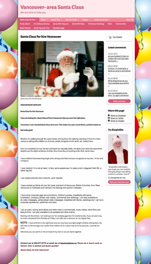 New website design for Vancouver Santa's website: before view.