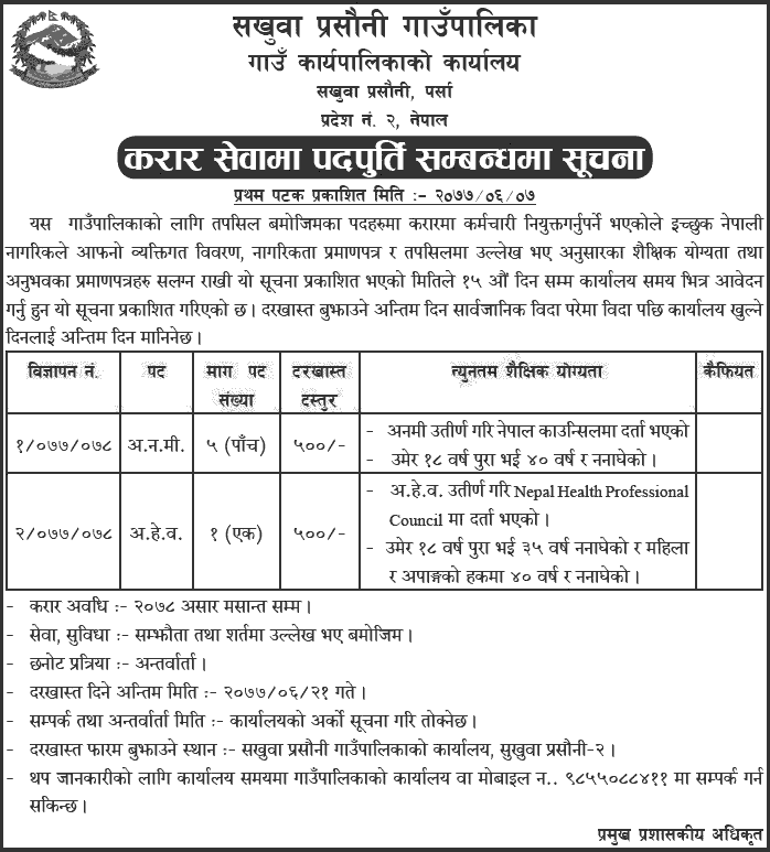 Sakhuwa Prasauni Rural Municipality Job Vacancy Notice for ANM, AHW