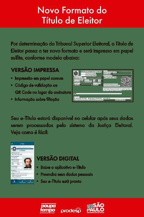 Ilustração que mostra o Título de Eleitor passa a ter novo formato passando a ter uma versão digital e deixando de ter a versão impressa tradicional
