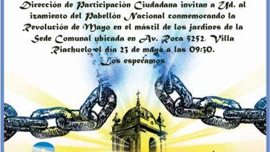 Photo of LA COMUNA 8 INVITA AL ACTO DEL 25 de MAYO