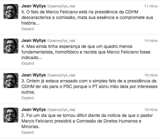 Comentários do deputado Jean Wyllys no Twitter. (Leia de baixo para cima)
