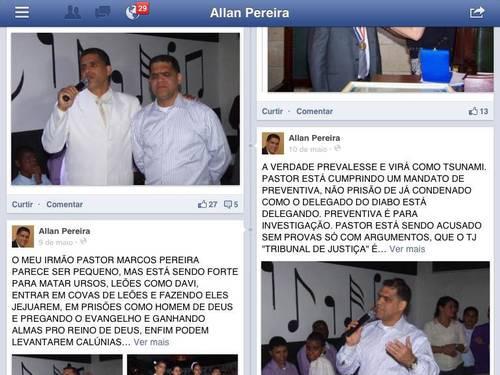 Publicações do pastor Allan Pereira que renderam acusações de difamação e injúria