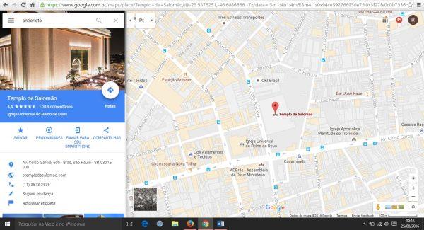 Google Maps mantinha Templo de Salomão como resultado de busca pelo anticristo nesta quinta-feira