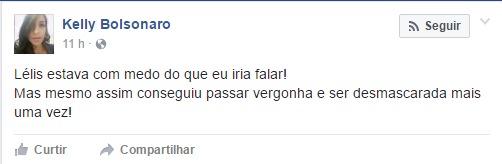 """Publicação de Kelly """"Bolsonaro"""" no Facebook momentos antes do Superpop ir ao ar."""