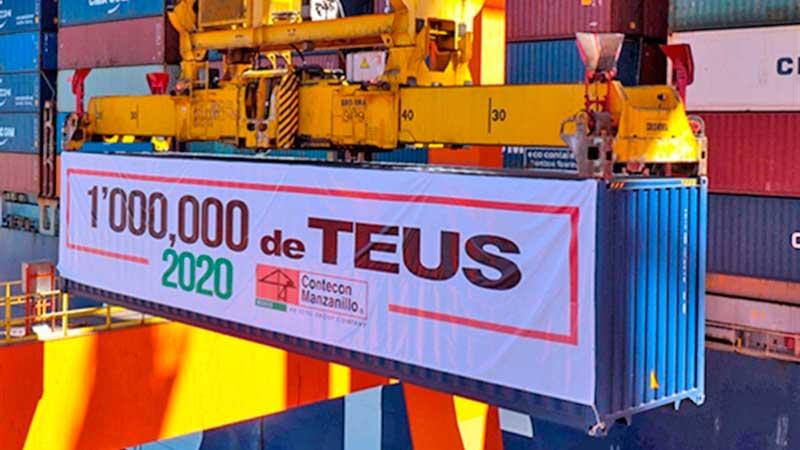 Contecon Manzanillo de México culminó 2020 con la marca de 1 millón de TEUs movilizados
