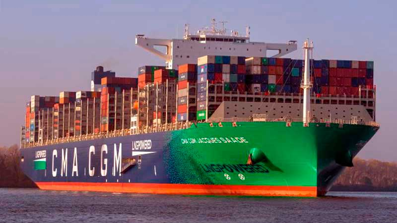 5. CMA CGM Jacques Saadé (2020). TEU máximo: 23.112 (De estas características hay nueve barcos).
